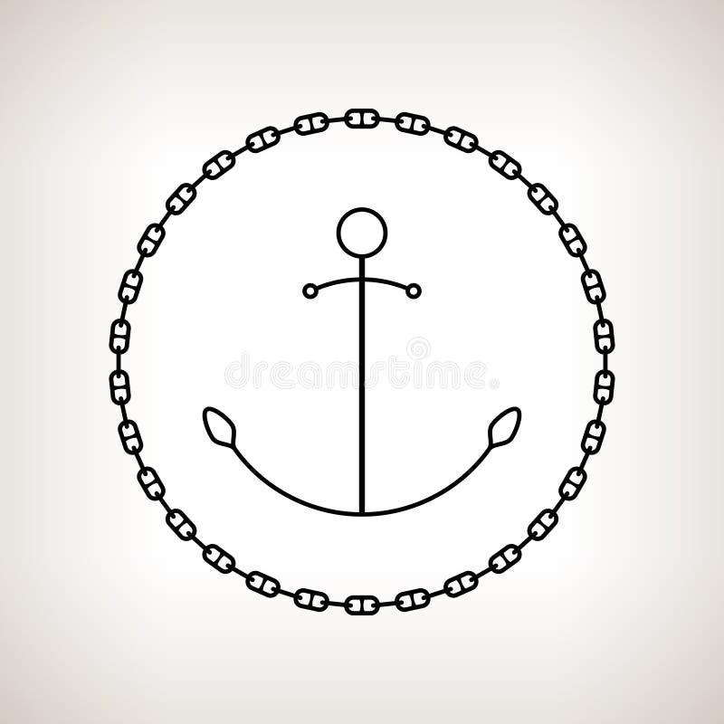 现出轮廓船锚和链子在轻的背景 皇族释放例证