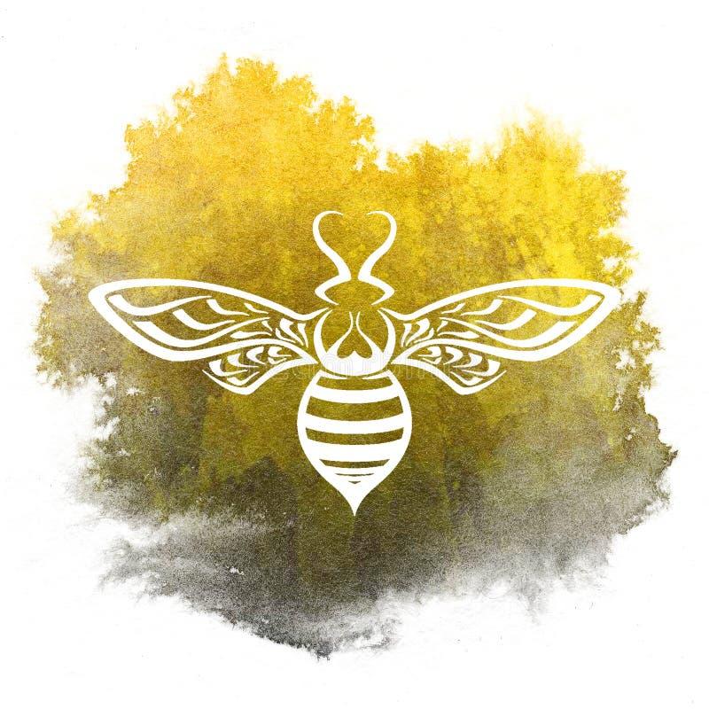现出轮廓蜂有黄色和黑水彩背景 库存例证