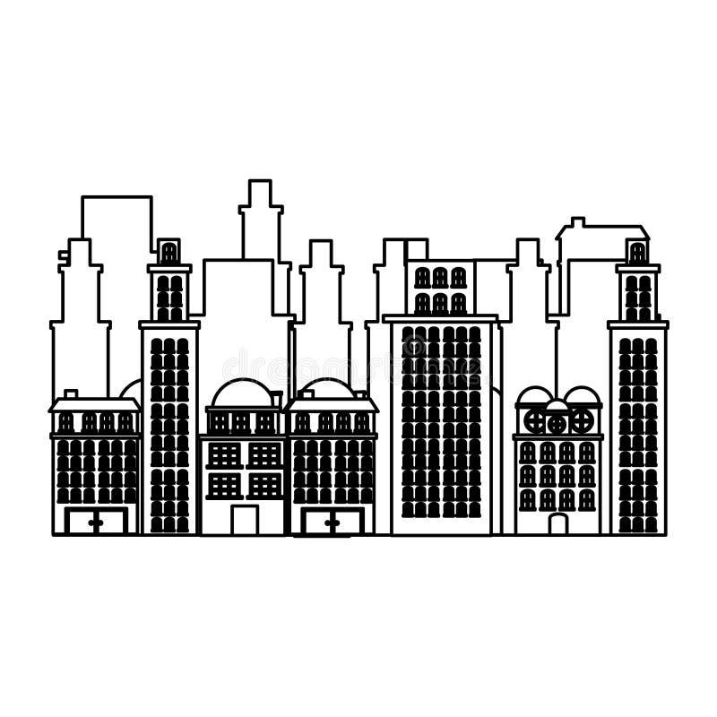 现出轮廓都市都市风景和住宅公寓场面象 向量例证