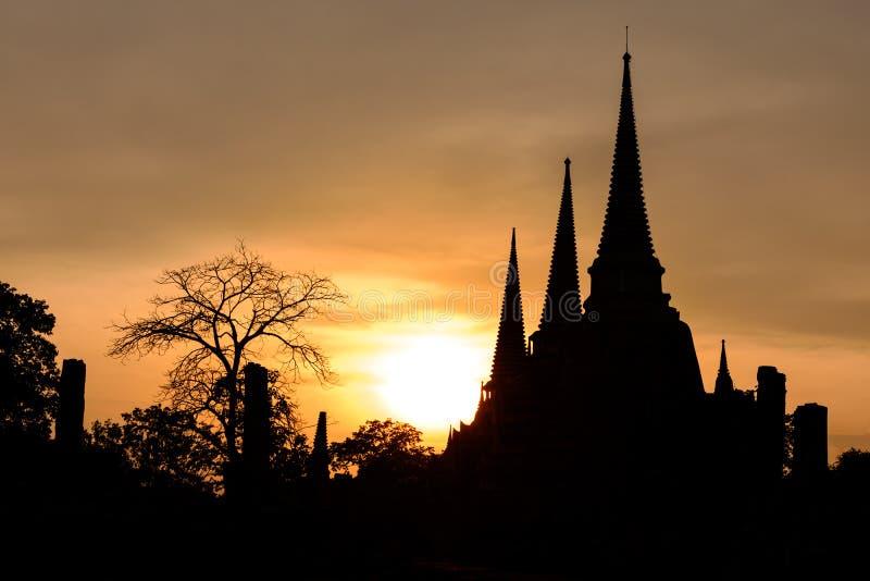 现出轮廓Wat Phra Sri Sanphet日落在日落在阿尤特拉利夫雷斯历史公园,泰国 库存照片