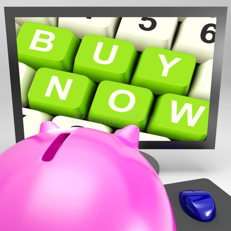 现在买在显示电子商务的显示器的钥匙 免版税库存图片