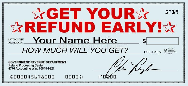 现在及早得到您的退还税金-文件退款快速的回归的  库存例证