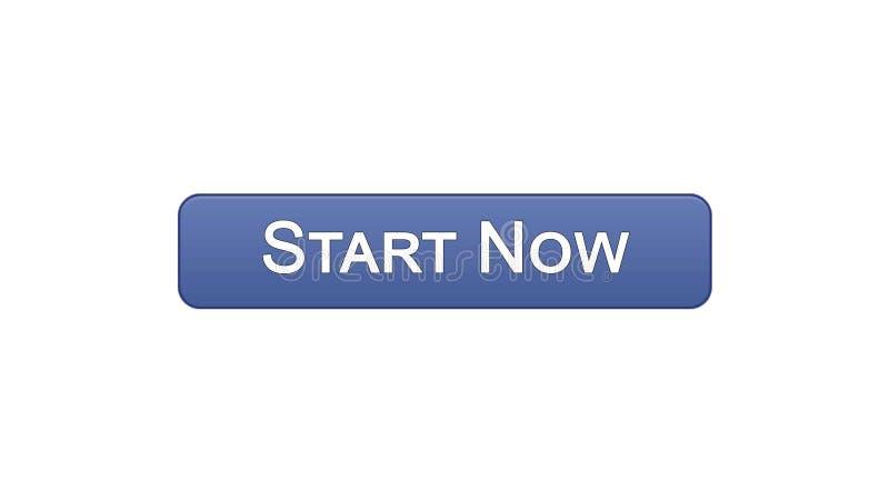 现在开始网接口按钮紫罗兰色颜色,业务发展,创新 库存例证