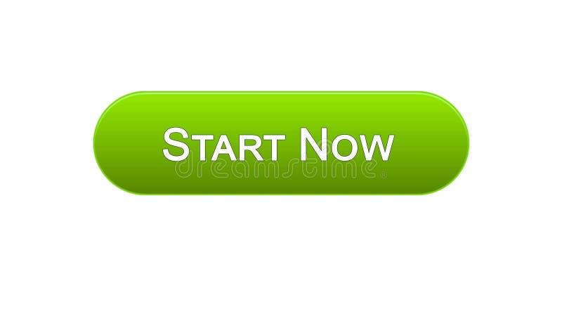 现在开始网接口按钮绿色,业务发展,创新 皇族释放例证