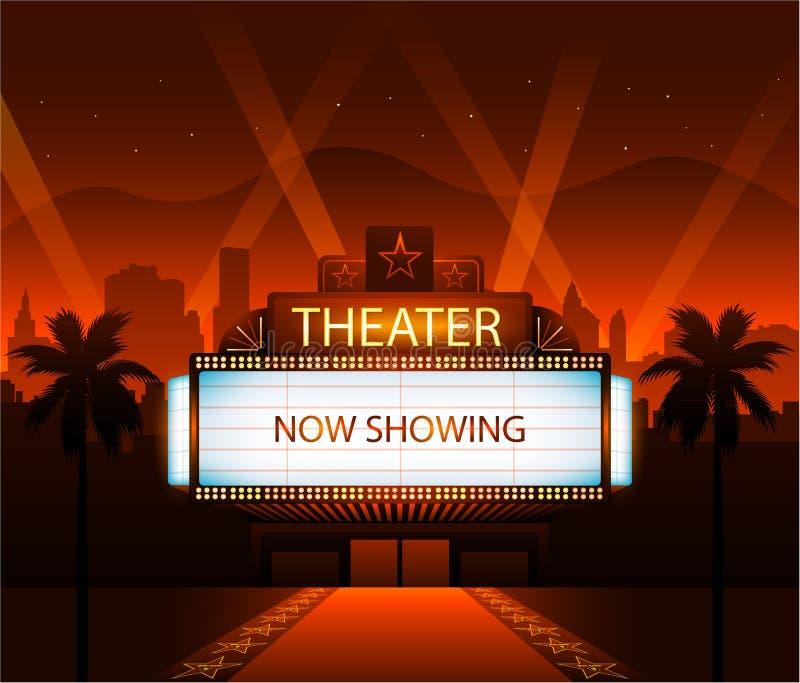 现在显示剧院电影横幅标志 向量例证