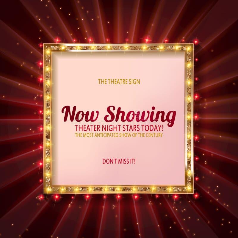 现在显示戏院的广告牌 皇族释放例证