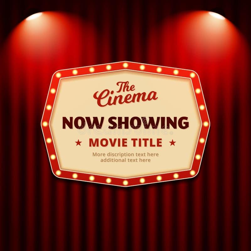 现在显示电影在戏院海报设计 与聚光灯和剧院帷幕背景传染媒介例证的减速火箭的广告牌标志 库存例证