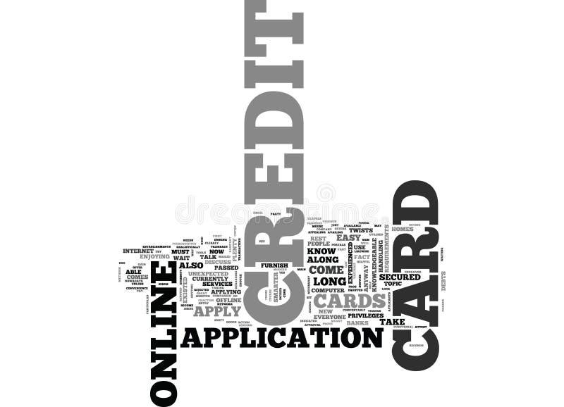 现在网上申请信用卡并且得到一立即措辞云彩 向量例证
