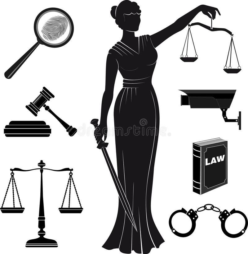 现场 套在题材的象司法 法律 Themis 皇族释放例证