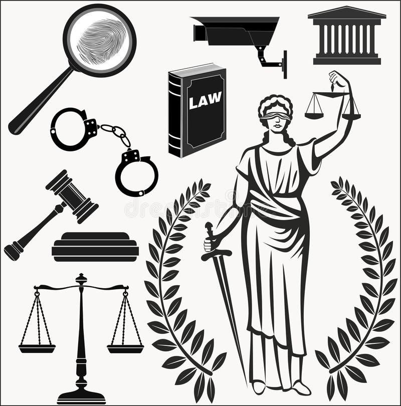 现场 被设置的图标 司法的题材 法律 正义的Themis女神 库存例证