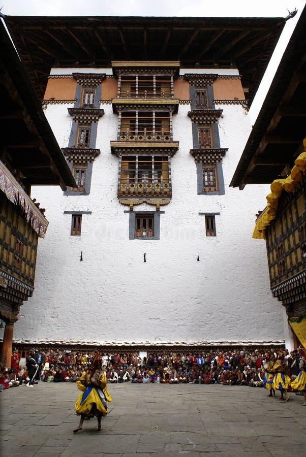 现场dzong paro围场 免版税库存图片