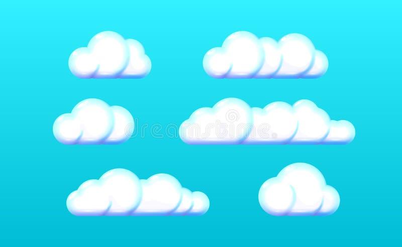 现实三维塑料集合光云彩象,白色玩具 云彩标志网 在蓝色的现代光滑的五颜六色的设计 向量例证