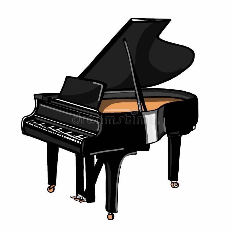 现实仪器动画片例证图画钢琴图画例证白色背景 库存例证