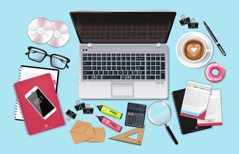 现实企业书桌办公室集合汇集的传染媒介 膝上型计算机、cofee、电话和办公用品3d详述了例证 向量例证