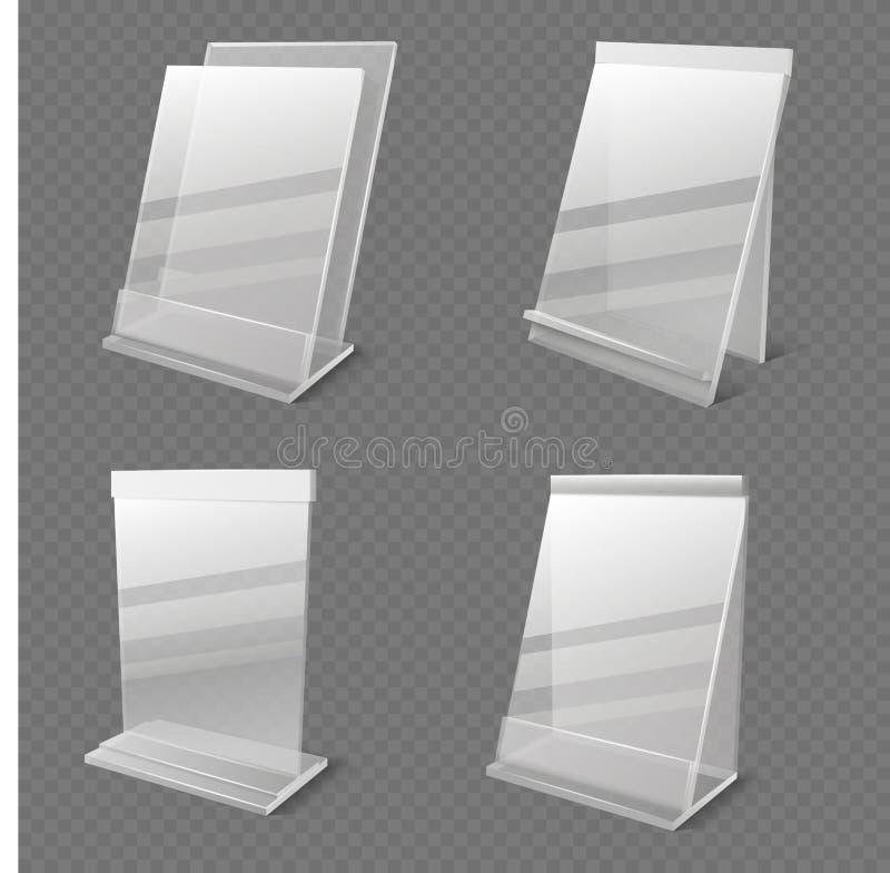 现实企业信息透明耐热有机玻璃空的持有人传染媒介 向量例证