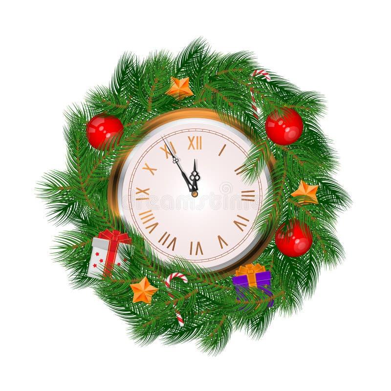 现实传染媒介圣诞节花圈和被隔绝的金时钟 库存例证