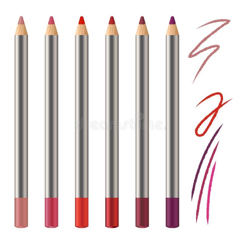 现实传染媒介套嘴唇铅笔大模型 装饰化妆用品色的铅笔 红色,桃红色,洋红色颜色化妆用品铅笔 库存例证