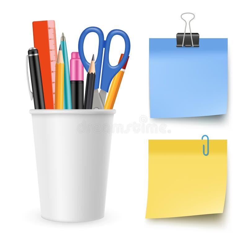 现实传染媒介文具收藏 铅笔,笔,剪刀,便条纸 皇族释放例证
