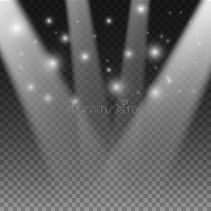 现实传染媒介阶段光线影响 透明明亮的发光的音乐会聚光灯 向量例证