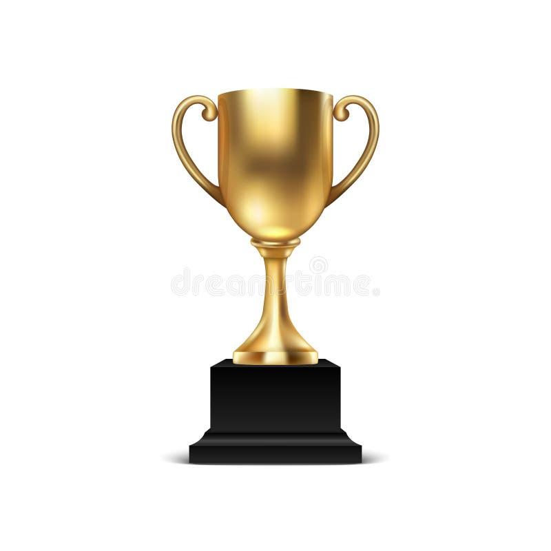 现实传染媒介3d删去在白色背景隔绝的金黄冠军杯象特写镜头 冠军设计模板  皇族释放例证