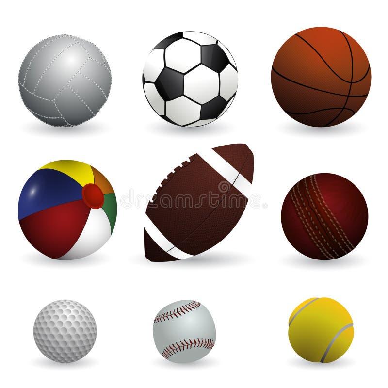 现实传染媒介例证套体育球 库存图片