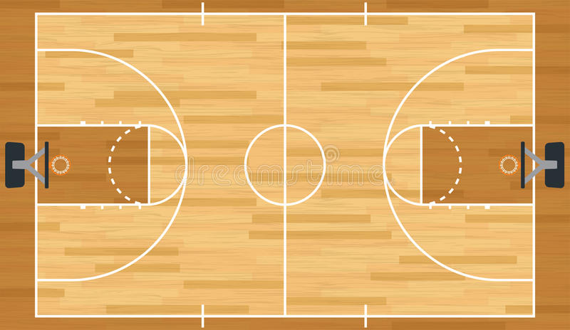 现实传染媒介篮球场 库存例证