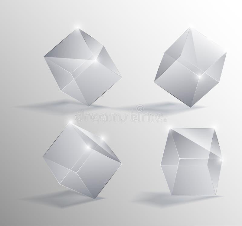 现实例证透明玻璃立方体用不同的位置 皇族释放例证