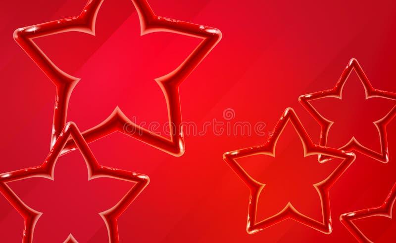 现实光滑的红色星背景起始的介绍 明亮的玩具塑料设计发光的3d,充满活力的颜色口气 ?? 库存例证