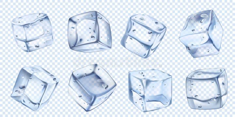 现实冰块 凉快的鸡尾酒的冰水立方体 Freezed水色传染媒介被隔绝的例证集合 向量例证