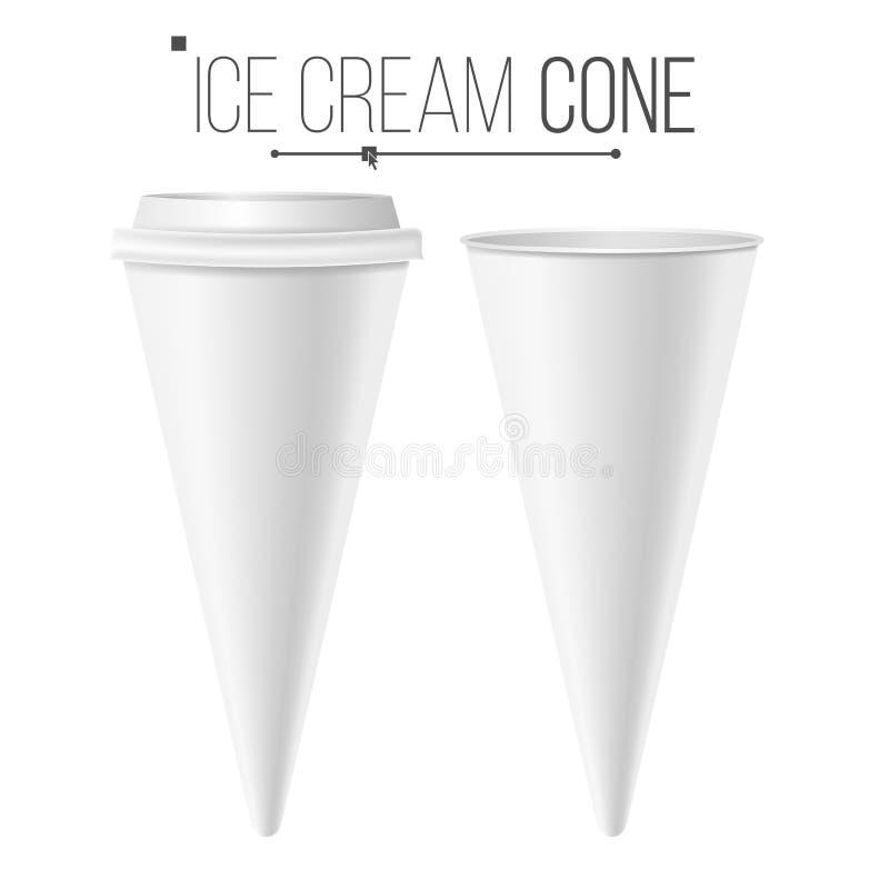 现实冰淇凌空白传染媒介 白色空的空白 冰淇凌包裹 食物纸盒锥体圆锥 查出 库存例证