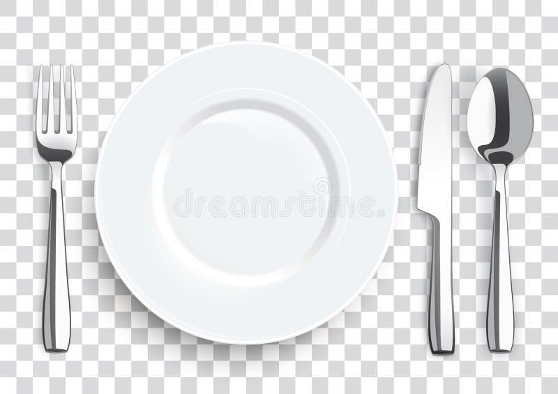 现实刀子叉子匙子不锈钢扁平的餐具 库存例证