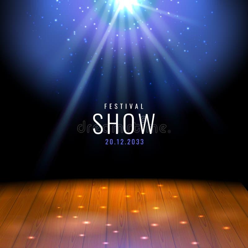 现实剧院木阶段或地板与聚光灯传染媒介欢乐模板与光和场面 海报设计为 库存例证