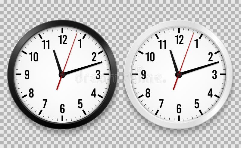 现实办公室时钟 墙壁回合观看与时间箭头和时钟表盘被隔绝的3d传染媒介黑白时钟 皇族释放例证