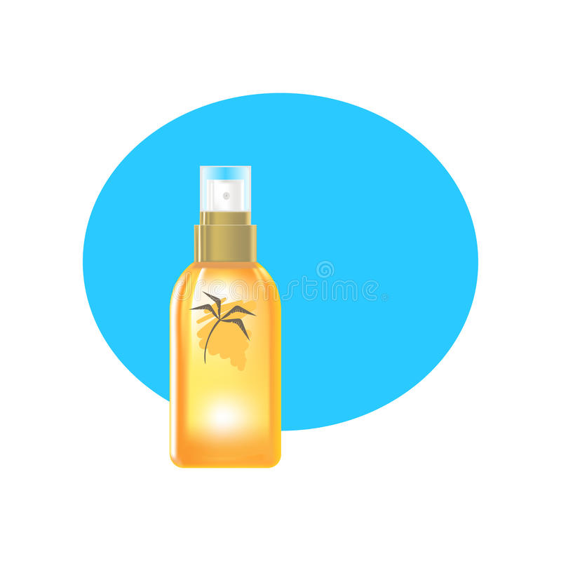 现实化妆产品 塑料透明瓶液体浪花奶油 向量例证