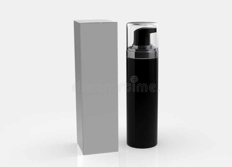 现实化妆瓶能有箱子的喷雾器容器 皇族释放例证