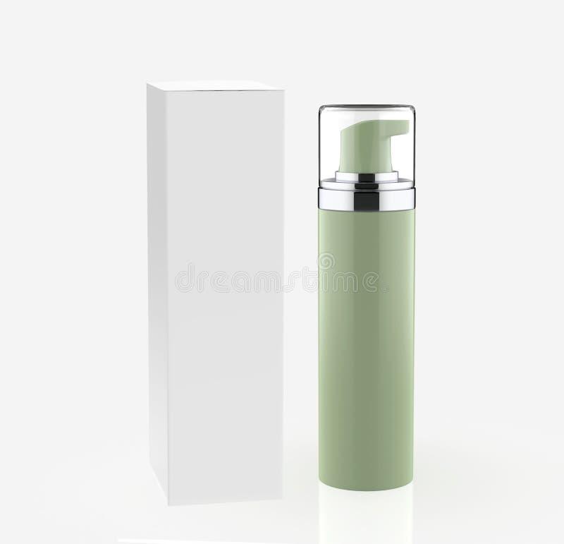 现实化妆瓶能有箱子的喷雾器容器 库存例证