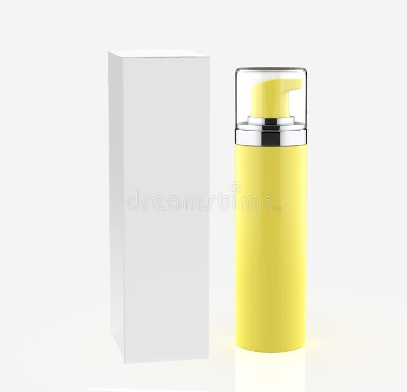 现实化妆瓶能有箱子的喷雾器容器 向量例证