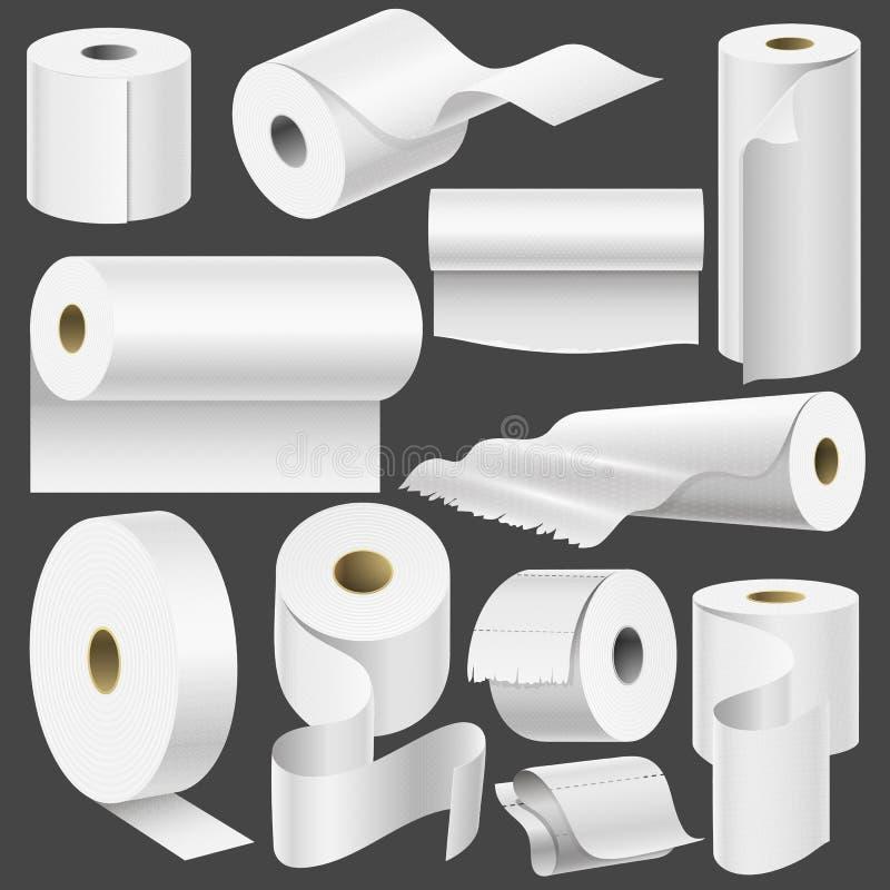 现实卫生纸卷和洗碗布模板嘲笑设置的被隔绝的传染媒介例证空白白色3d包装 向量例证