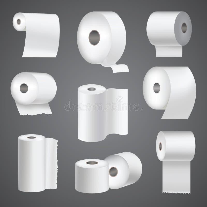 现实卫生纸卷嘲笑设置的被隔绝的传染媒介例证空白白色3d包装的洗碗布模板 向量例证