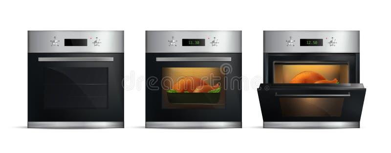 现实厨房烤箱集合 库存例证