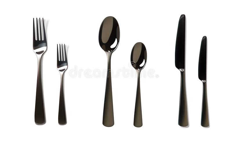 现实叉子和刀子大模型 不锈钢,银色厨具,扁平的餐具 在白色的被隔绝的传染媒介例证 向量例证