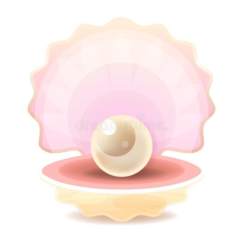 现实唯一可贵的对象图象传染媒介的美好的自然开放珍珠壳关闭 向量例证