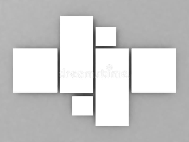 现实回报拼贴画在墙壁上的照片框架 向量例证