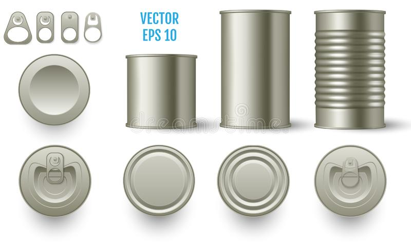 现实圆柱形罐子大模型装各种各样的高度于罐中 可实现 皇族释放例证