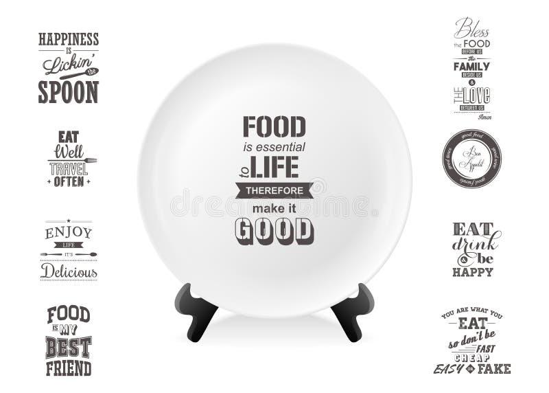 现实在一个立场的传染媒介白色食物盘板材与关于食物集合特写镜头的行情在白色背景 库存例证