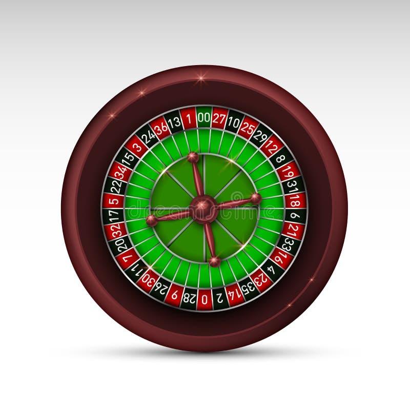现实在白色背景隔绝的赌博娱乐场赌博的轮盘赌的赌轮 皇族释放例证
