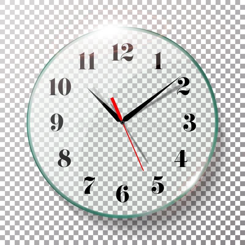 现实壁钟被设置的传染媒介例证 墙壁办公室时钟用在透明背景隔绝的黑和红色手 实际 向量例证