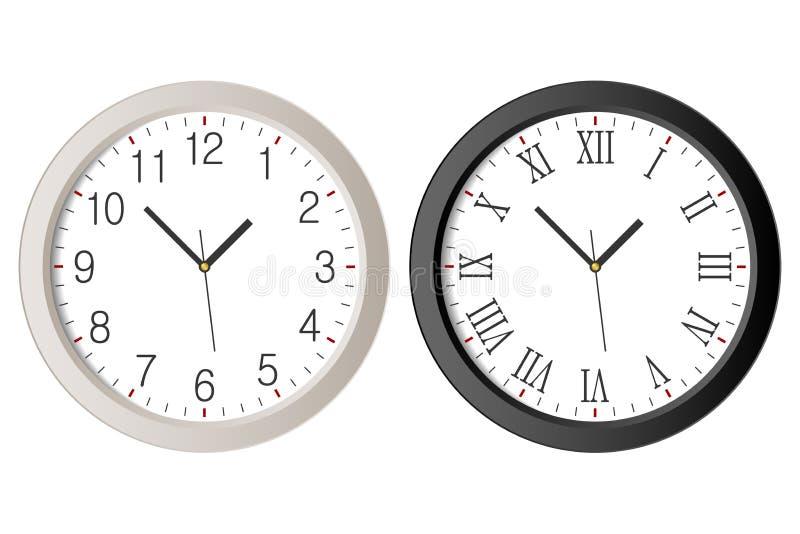 现实壁钟设置了与黑罗马数字和白色时钟面孔拨号盘有阿拉伯数字的 库存例证