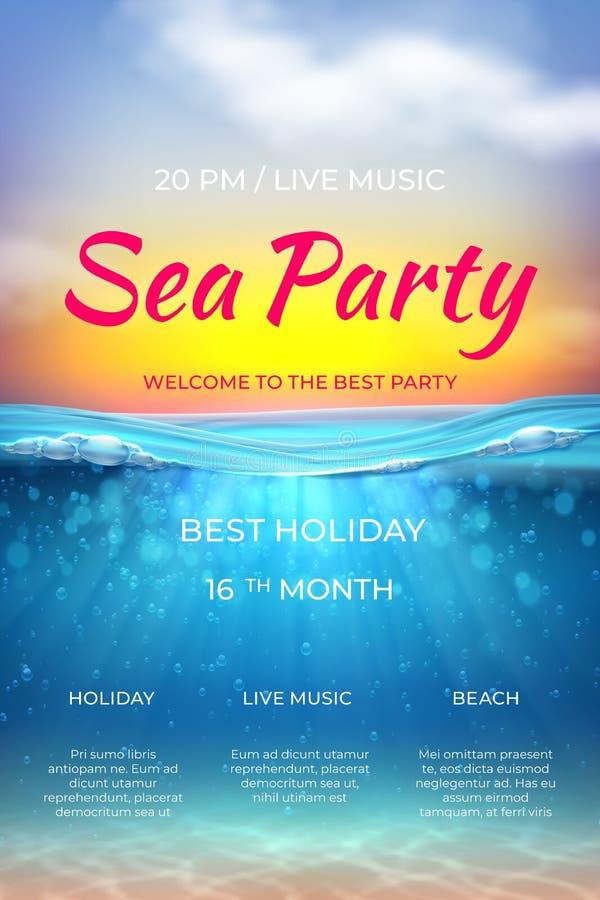 现实夏天海报 池边聚会设计,海洋假期海洋事件的水中场面 传染媒介海海滩党 向量例证