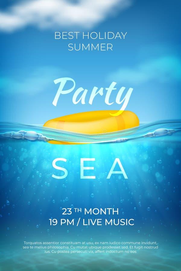 现实夏天海报 海水中池边聚会设计、海洋海滩事件横幅与波浪天空和底部 ?? 向量例证